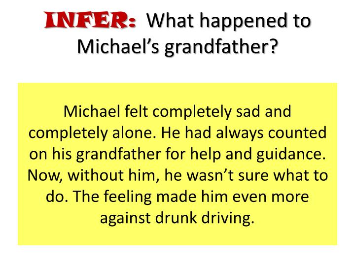 Michael felt completely sad and completely alone. He had always counted on his grandfather for help and guidance. Now, without him, he wasn't sure what to do. The feeling made him even more against drunk driving.