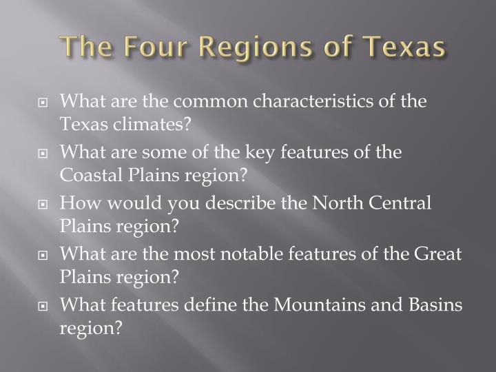 the four regions of texas n.