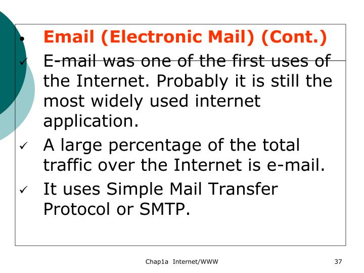 Email (Electronic Mail) (Cont.)