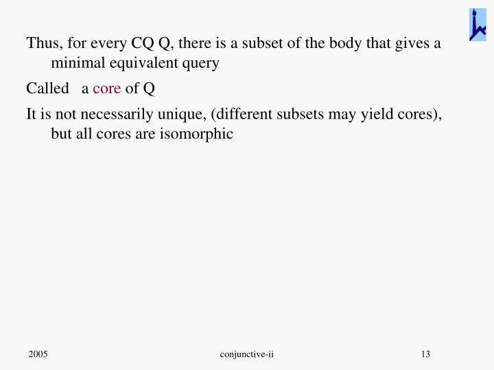 Thus, for every CQ Q, there is a subset of the body that gives a minimal equivalent query