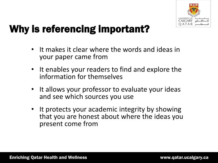 what is referencing and why is it important