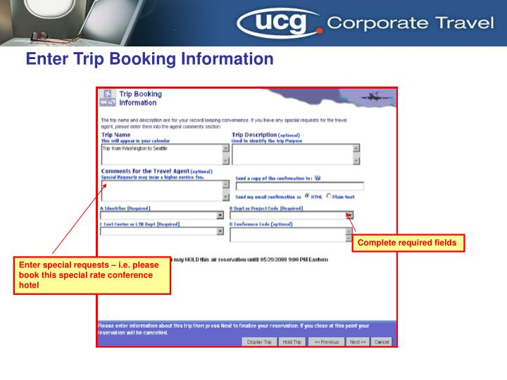 Enter Trip Booking Information