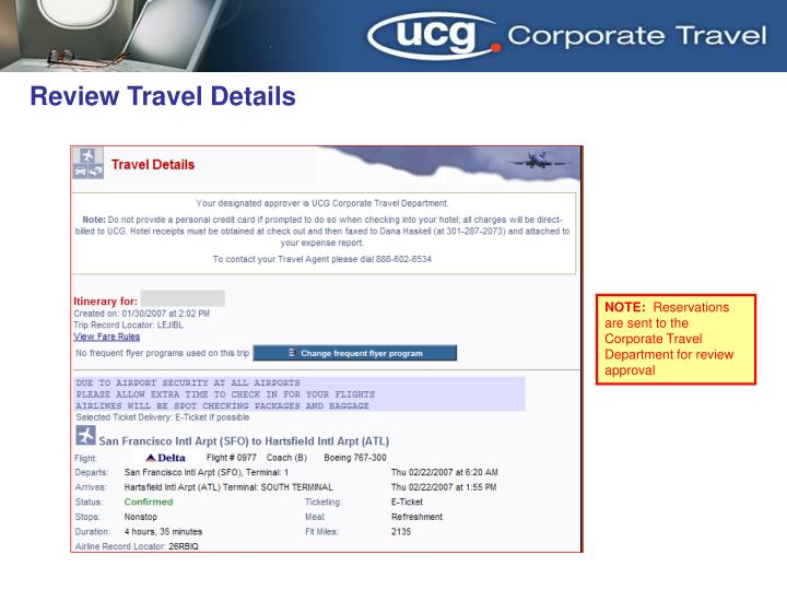 Review Travel Details