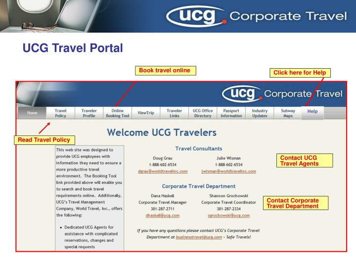 UCG Travel Portal