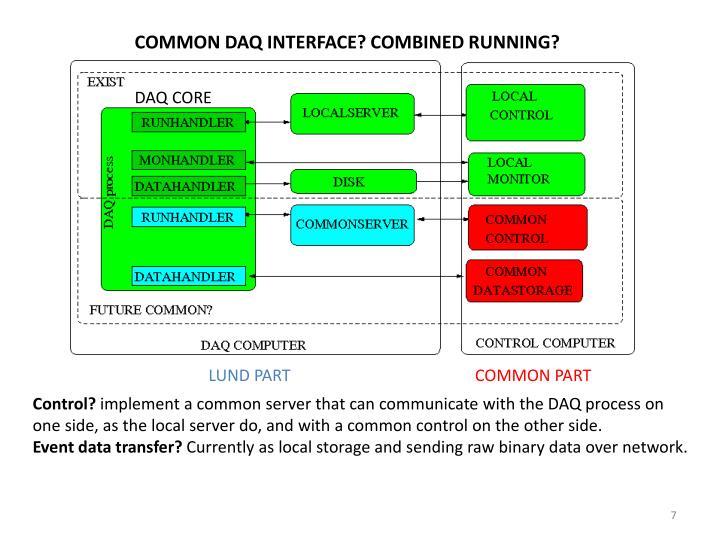 COMMON DAQ INTERFACE? COMBINED RUNNING?
