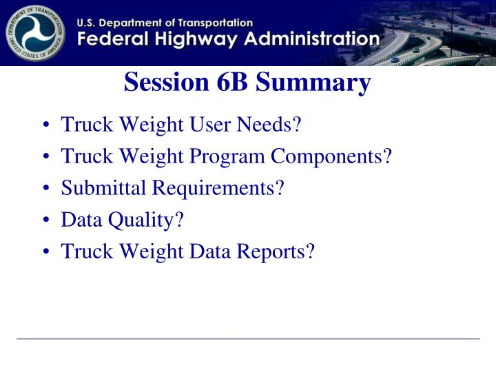 Session 6B Summary