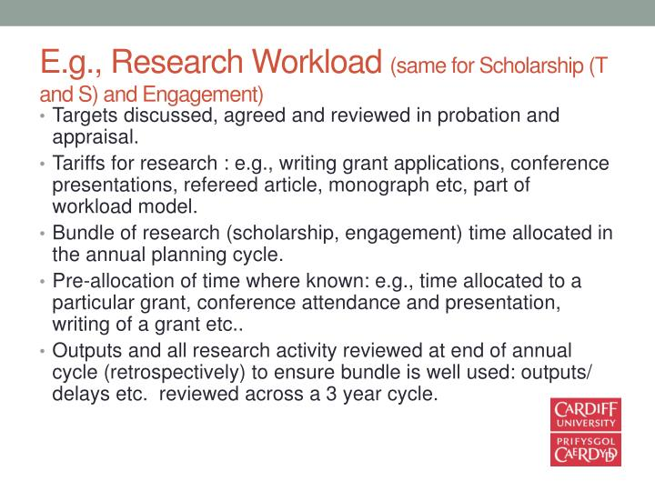 E.g., Research Workload