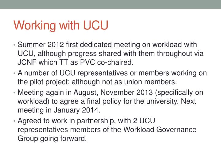 Working with UCU