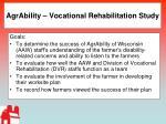agrability vocational rehabilitation study