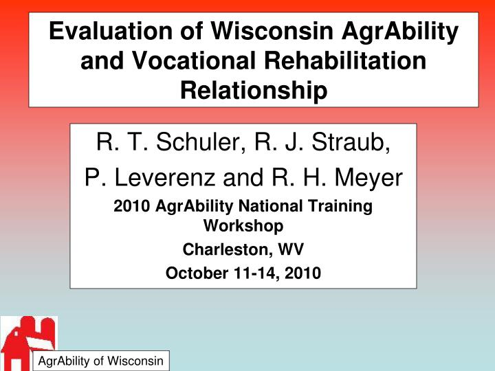 evaluation of wisconsin agrability and vocational rehabilitation relationship n.