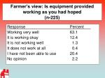 farmer s view is equipment provided working as you had hoped n 225