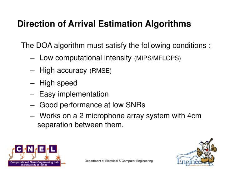 Direction of Arrival Estimation Algorithms