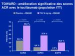 toward am lioration significative des scores acr avec le tocilizumab population itt