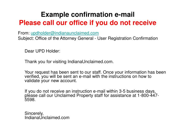 Example confirmation e-mail