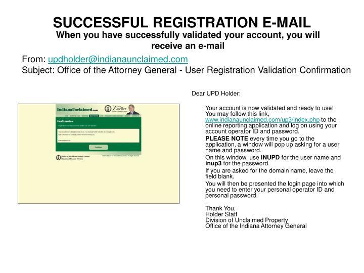 SUCCESSFUL REGISTRATION E-MAIL