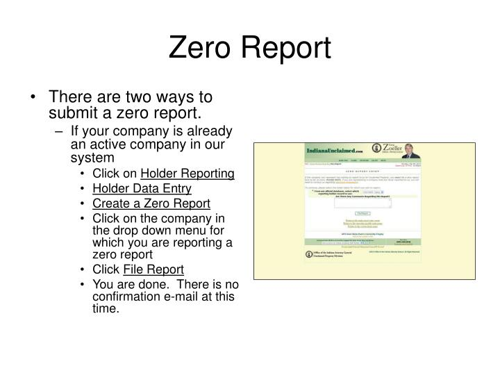 Zero Report