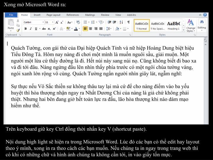 Xong mở Microsoft Word ra: