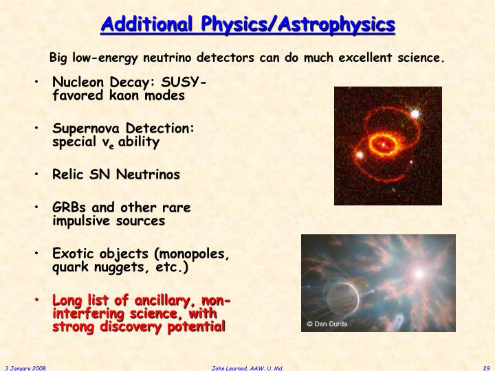 Additional Physics/Astrophysics