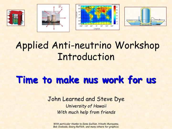 Applied anti neutrino workshop introduction time to make nus work for us