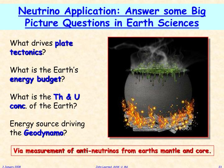 Neutrino Application: Answer some Big Picture Questions in Earth Sciences