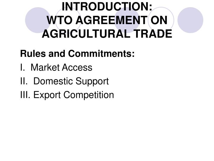 Introduction wto agreement on agricultural trade