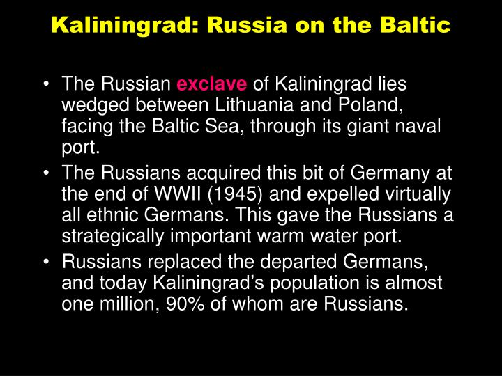 Kaliningrad: Russia on the Baltic
