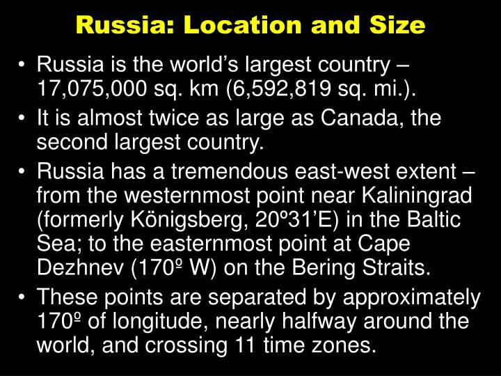 Russia location and size