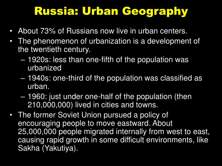Russia: Urban Geography