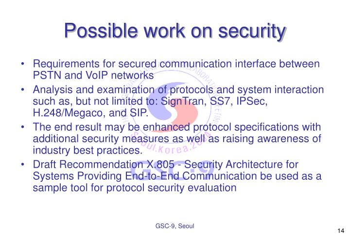 Possible work on security