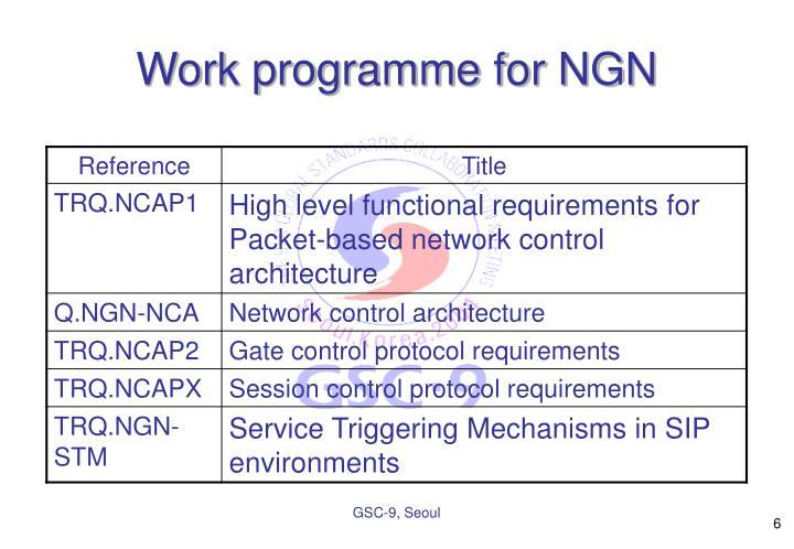 Work programme for NGN