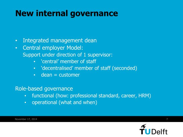 New internal governance