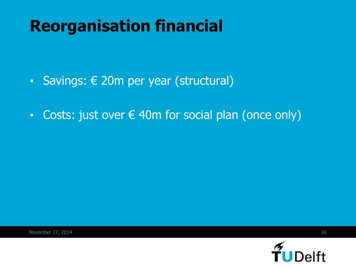 Reorganisation financial