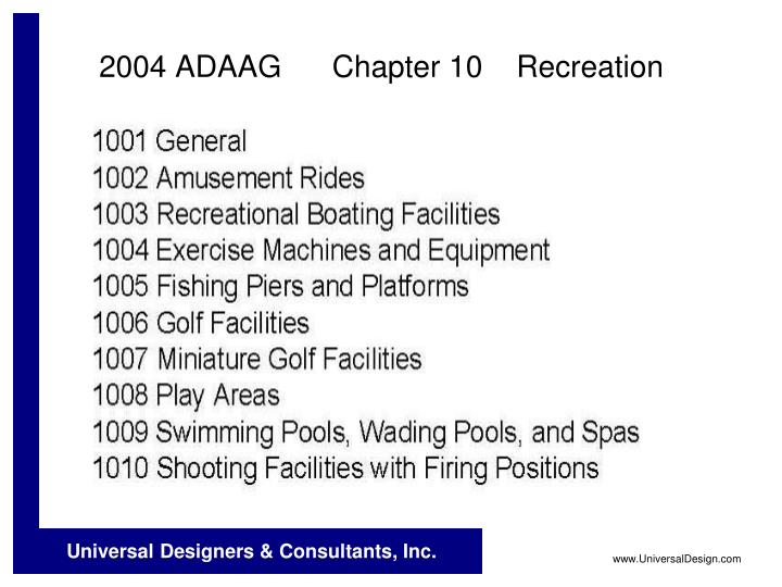 2004 ADAAG      Chapter 10    Recreation