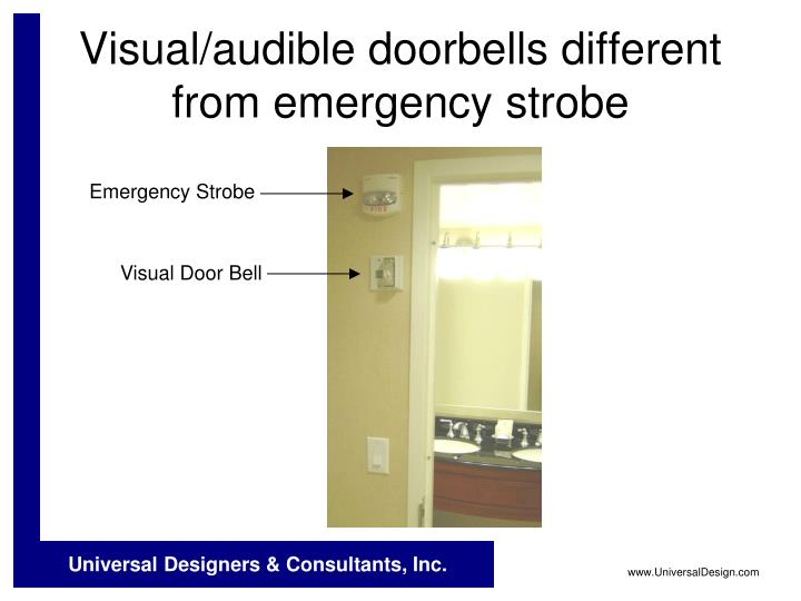 Visual/audible doorbells different from emergency strobe