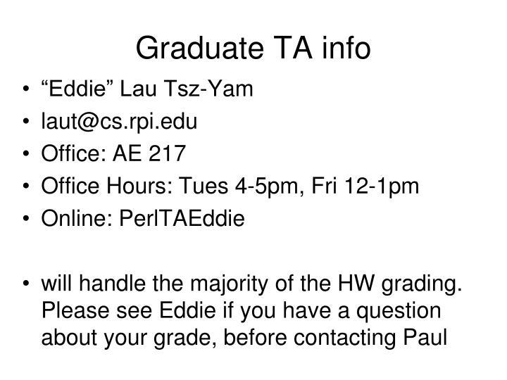 Graduate TA info