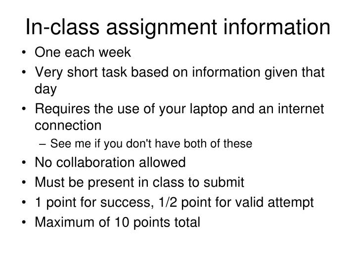 In-class assignment information