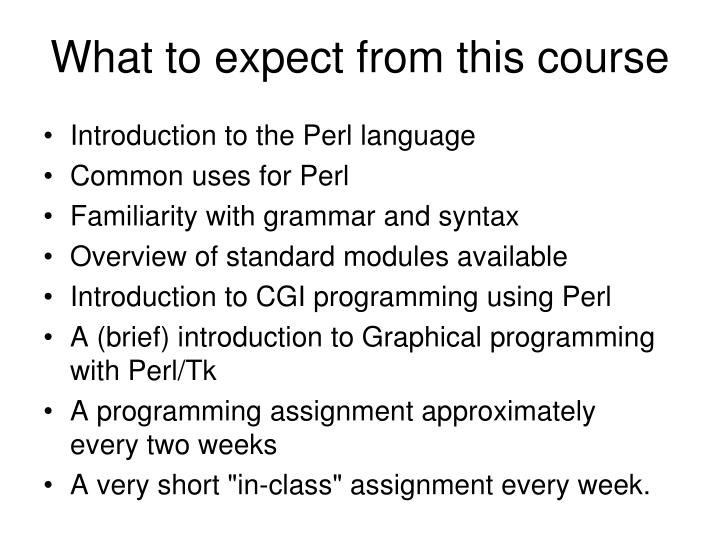 What to expect from this course