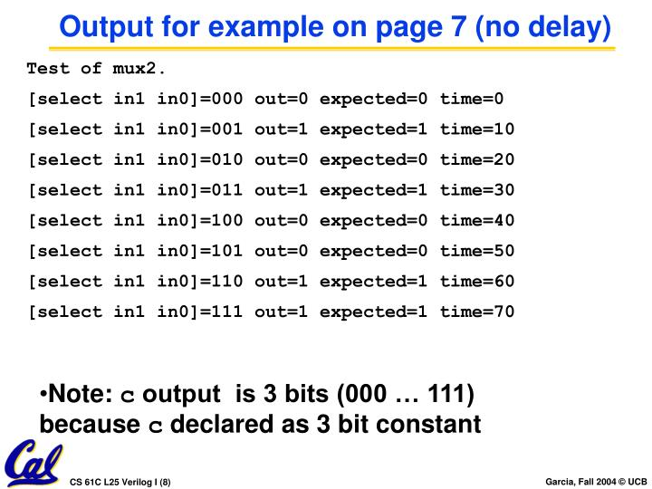 Output for example on page 7 (no delay)
