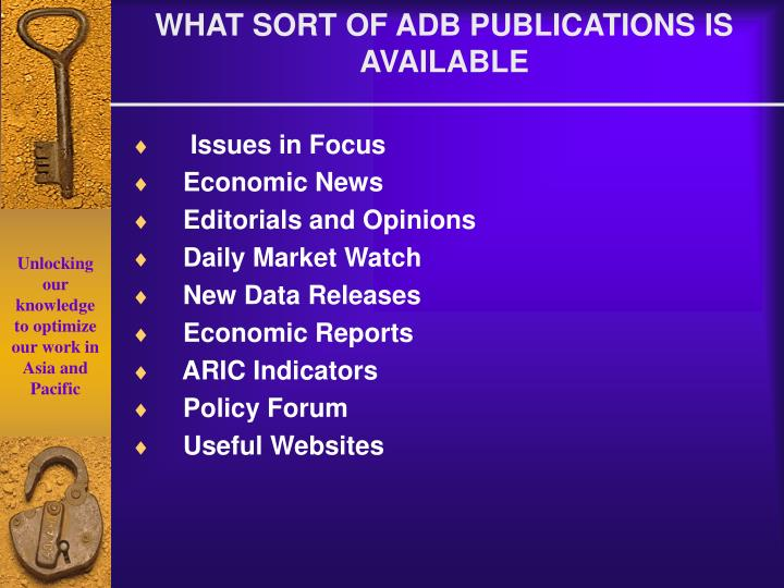 WHAT SORT OF ADB PUBLICATIONS IS AVAILABLE