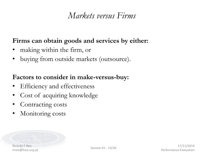 Markets versus Firms