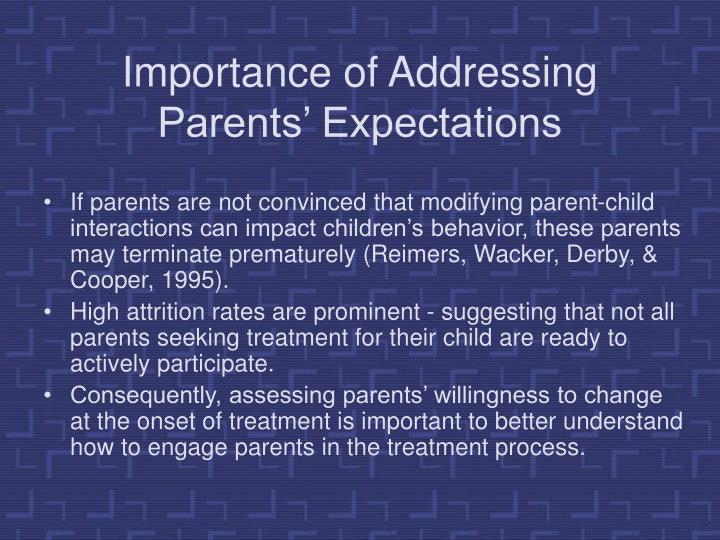 Importance of Addressing Parents' Expectations