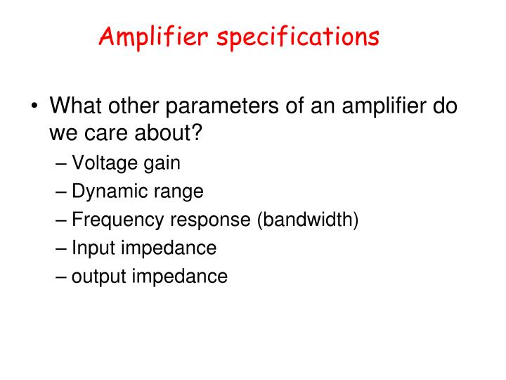 Amplifier specifications