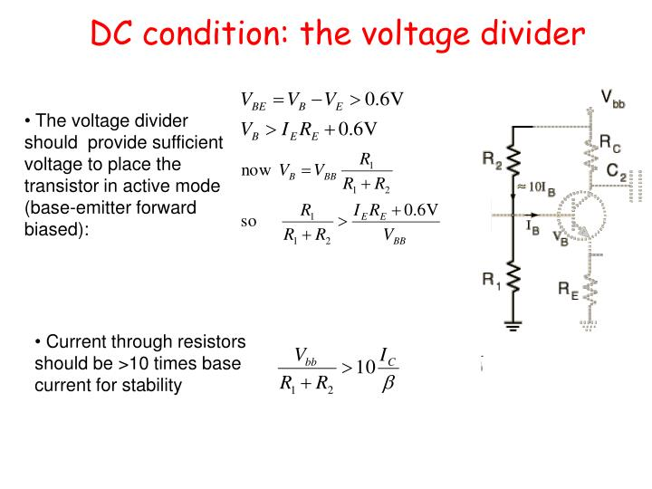 DC condition: the voltage divider