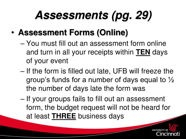 Assessments (pg. 29)