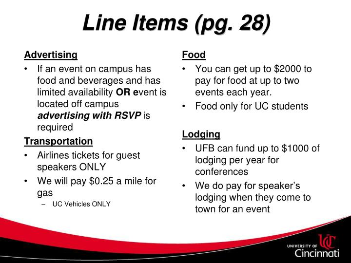 Line Items (pg. 28)