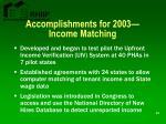 accomplishments for 2003 income matching