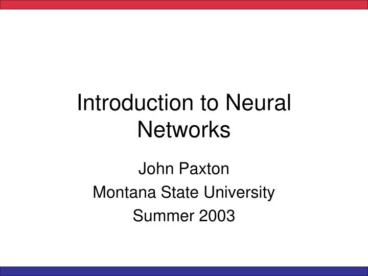 introduction to neural networks n.