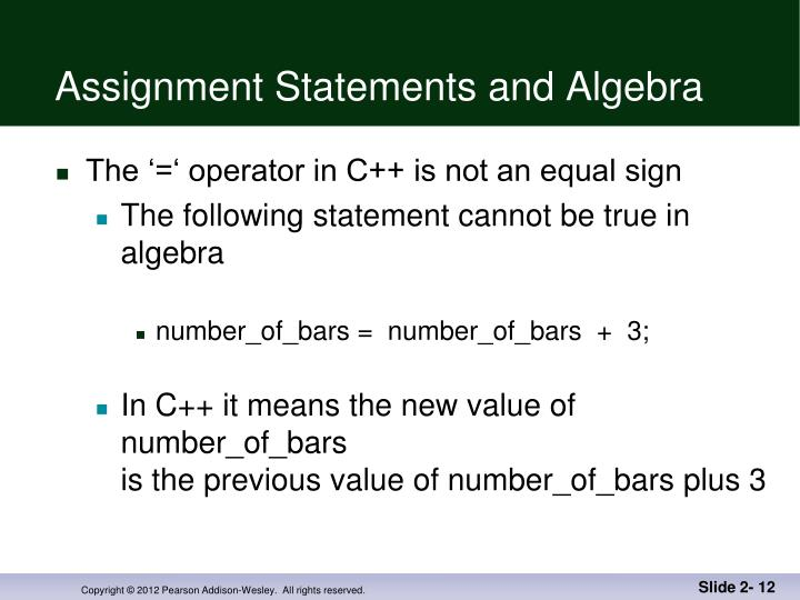 Assignment Statements and Algebra