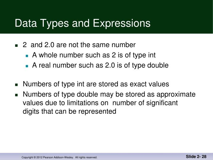 Data Types and Expressions