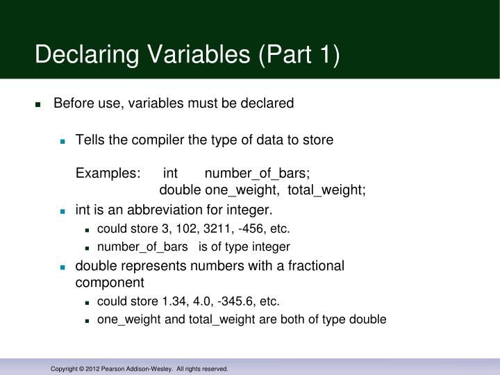 Declaring Variables (Part 1)